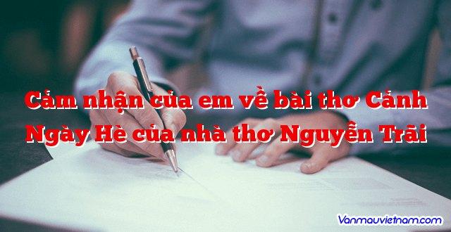 Cảm nhận của em về bài thơ Cảnh Ngày Hè của nhà thơ Nguyễn Trãi