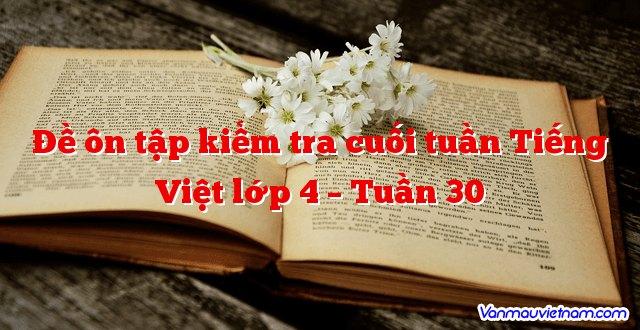 Đề ôn tập kiểm tra cuối tuần Tiếng Việt lớp 4 – Tuần 30