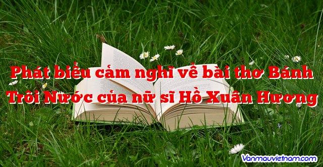 Phát biểu cảm nghĩ về bài thơ Bánh Trôi Nước của nữ sĩ Hồ Xuân Hương
